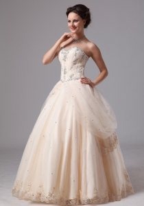 Champagne Sweetheart Lace Wedding Dress Appliques Custom Made