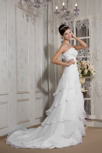 A-line Strapless Court Train Organza Appliques Wedding Dress