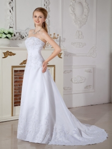 A-line Sweetheart Court Train Satin Lace Wedding Dress