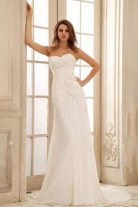 Beach Wedding Dress With Hand Made Flowers Ruched Bodice