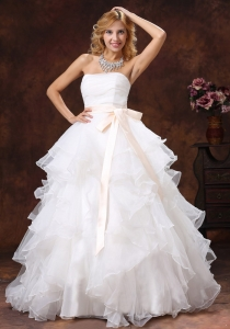 A-line Sash 2013 Wedding Dress Strapless Sash Organza