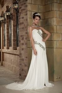 Column Wedding Dress Sweetheart Court Train Chiffon Beading