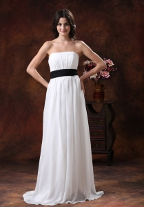 White Chiffon Brush Train Wedding Dress Black Belt
