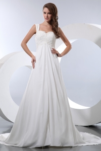 Elegant Straps A-line Court Train Chiffon Appliques Wedding Dress