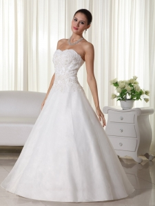Elegant A-line Sweetheart Floor-length Organza Lace Wedding Gown
