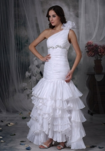 One Shoulder Mermaid Chiffon Beading and Ruch Wedding Gown