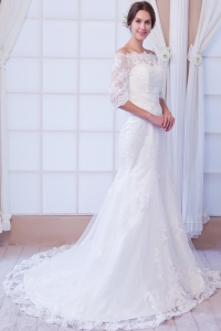 Mermaid Off The Shoulder Wedding Dress Court Train Lace