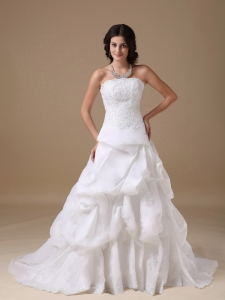 A-line Strapless Wedding Dress Court Train Taffeta Lace