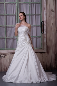 Strapless Court Train Taffeta Appliques Wedding Dress