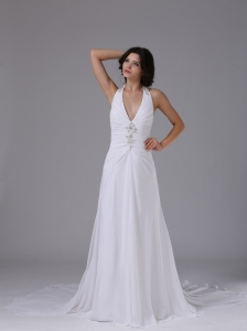 Halter Wedding Dress Ruched Bodice Beading Chapel Train