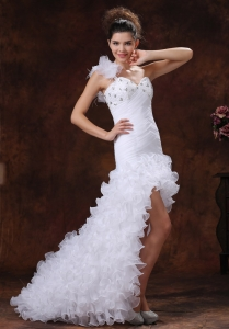 Beaded Decorate Bust Wedding Dress Ruched Bodice Ruffles