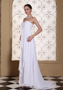 Laced White Chiffon Wedding Dress For 2013 Brush Train