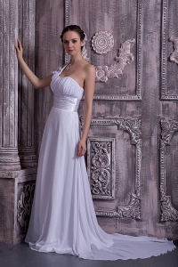Empire One Shoulder Court Train Ruch Wedding Dress