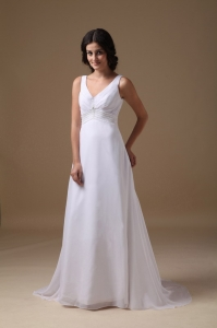Empire V-neck Wedding Dress Brush Train Chiffon Beading
