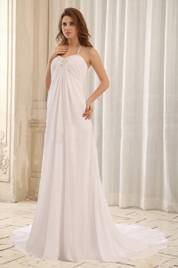 Luxurious Wedding Dress Empire Halter Appliques Ruch