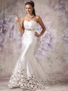 Mermaid Sweetheart Court Train Satin Beading Bridal Gown