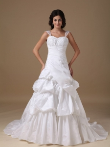 A-line Straps Wedding Dress Court Train Taffeta Appliques