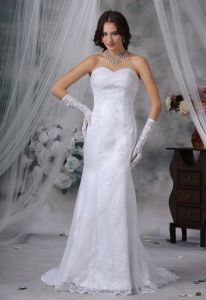 Lace Decorate Bodice Mermaid Sweetheart Neckline Wedding Gown
