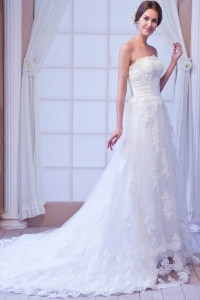 Column Wedding Dress Strapless Court Train Lace Sashes
