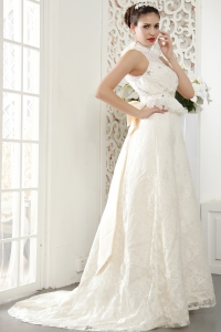 Popular A-line Wedding Dress High-neck Brush Train Lace