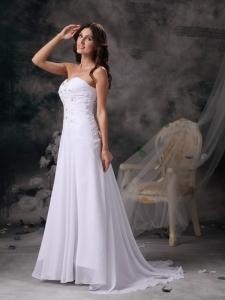 Column Sweetheart Brush Train Chiffon Beading Wedding Dress