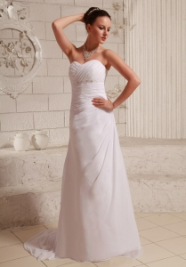 Ruch Appliques Sweetheart Chiffon Wedding Dress Court