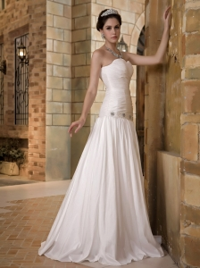 Simple A-line Sweetheart Floor-length Taffeta Beading Bridal Gown