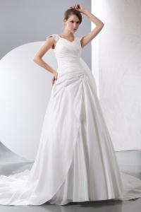 A-line Wedding Dress V-neck Chapel Train Taffeta Ruch