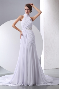 Simple Column Wedding Dress Halter Chapel Train Chiffon