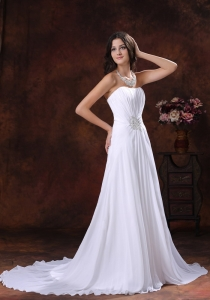 Chiffon White Beaded Decotare Sweetheart Wedding Dress