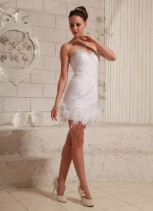 Sweetheart Beaded Feather Column Mini-length Club Cocktail Dress