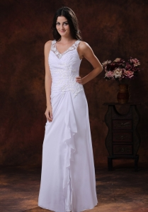 Wedding Dress White V-neck Chiffon Appliques Decorate