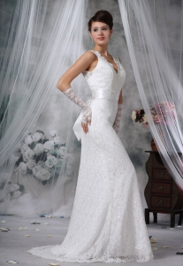 V-neck Lace Decorate Bodice Sash Bowknot Wedding Dress For 2013