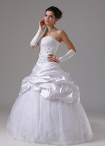 Wedding Dress With Appliques and Pick-ups Ball Gown