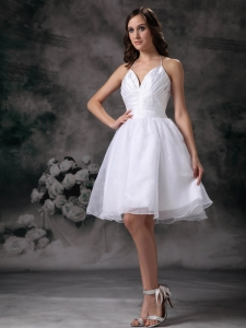 White Halter Wedding Dress Mini-length Organza Ruch