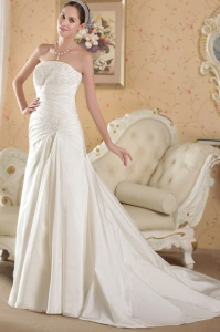 White Strapless Wedding Dress Chapel Taffeta Appliques