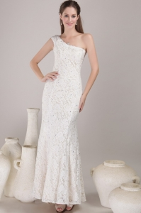 White Wedding Dress Column Sheath One Shoulder Beading
