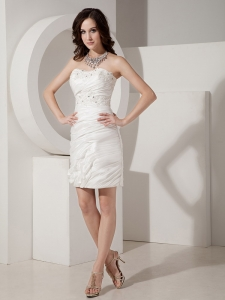 White Column Sheath Sweetheart Taffeta Wedding Dress