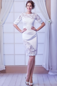 White Column Wedding Dress Scoop Knee-length Satin