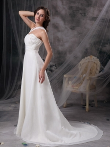 White Empire Wedding Dress Asymmetrical Court Train Chiffon