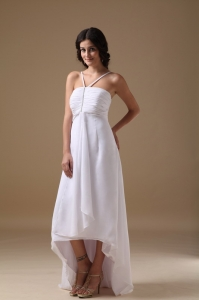 White Wedding Dress Empire Halter Chiffon Beading