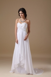 White Empire Wedding Dress Sweetheart Chiffon Taffeta Lace