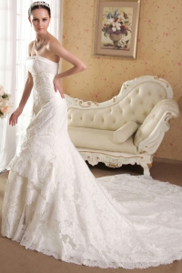 White Mermaid Strapless Chapel Train Beading Wedding Dress