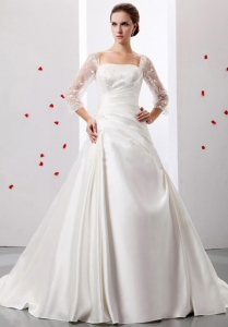 A-line Square So Beautiful Weding Dress Ruch and Appliques