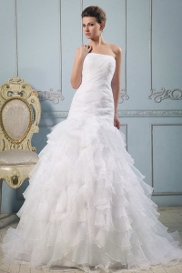 Strapless Wedding Gowns Ruffled Layered With Ruched
