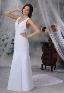 Beaded Watteau Train Chiffon Scoop Simple Wedding Dress