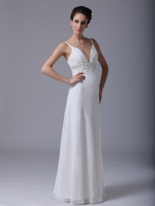 Beaded Waist Chiffon Straps Empire Wedding Dress
