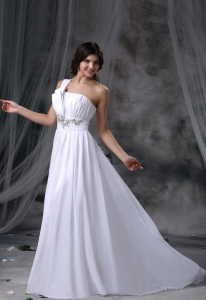 Beading Ruched Up Bodice One Shoulder Wedding Dress