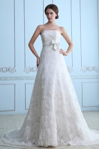 Wedding Dress A-line Strapless Court Train Lace Sash