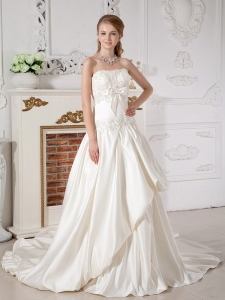 Appliques A-line Strapless Court Train Taffeta Wedding Dress